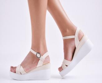 Дамски  сандали на платформа  еко кожа бежови KUDN-27668