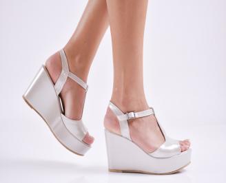 Дамски  сандали на платформа  еко кожа бежови EWWP-27669