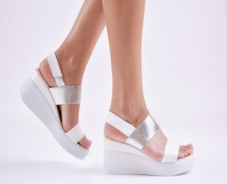 Дамски  сандали на платформа  еко кожа бели EDIU-27678