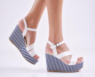 Дамски  сандали на платформа  еко кожа бели RZOI-27680