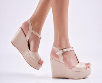 Дамски  сандали на платформа  еко кожа пудра JDEU-27686