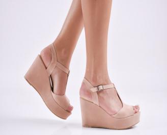 Дамски  сандали на платформа  набук розови ANOK-27687