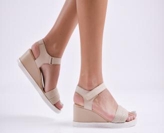 Дамски сандали на платформа естествена кожа  бежови GZXQ-27705
