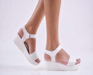 Дамски сандали на платформа естествена кожа бели AENZ-27707