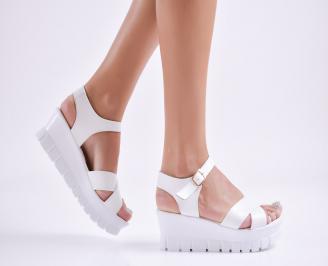 Дамски  сандали на платформа  еко кожа бели ACAP-27709