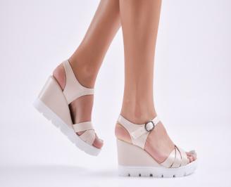 Дамски сандали на платформа еко кожа  бежови FJFO-27711