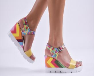 Дамски сандали на платформа еко кожа шарени QRID-27716