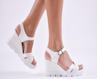 Дамски  сандали на платформа  еко кожа бели CCXG-27721