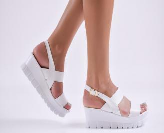 Дамски  сандали на платформа  еко кожа бели GLVW-27722