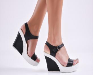 Дамски  сандали на платформа  еко кожа черни KIJF-27726