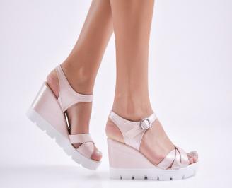 Дамски  сандали на платформа  еко кожа розови FLDI-27733