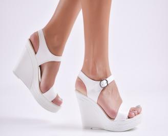 Дамски  сандали на платформа  еко кожа бели FSVZ-27737