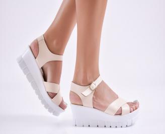 Дамски сандали на платформа еко кожа  бежови CVFI-27741