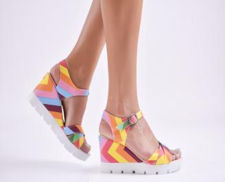 Дамски сандали на платформа еко кожа шарени FVRF-27742