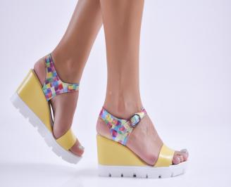 Дамски сандали на платформа еко кожа жълти FPPU-27743