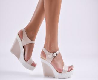 Дамски сандали на платформа еко кожа  бежови GLPO-27745