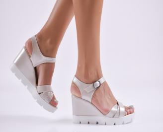 Дамски  сандали на платформа  еко кожа сребриста AXJJ-27750