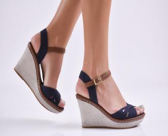 Дамски сандали на платформа текстил сини QZHQ-27754
