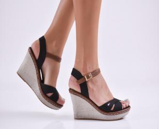 Дамски сандали на платформа текстил черни TDUV-27755