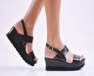 Дамски  сандали на платформа  еко кожа черни HRJI-27774