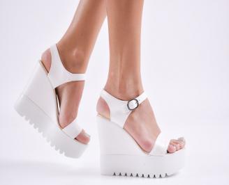 Дамски  сандали на платформа  еко кожа бели LIVF-27777