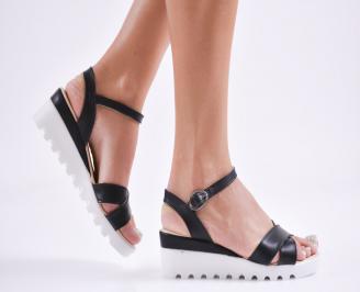 Дамски  сандали на платформа  еко кожа черни BKHN-27778