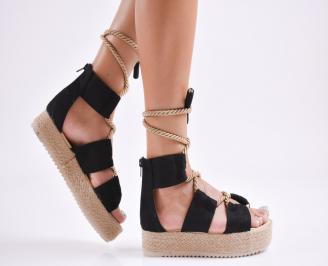 Дамски  сандали на платформа  набук черни SBLD-27780