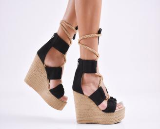 Дамски  сандали на платформа  набук черни SRHN-27782
