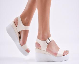 Дамски сандали на платформа еко кожа  бежови MXAV-27783