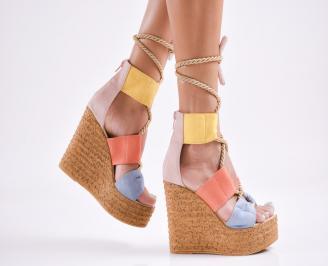 Дамски  сандали на платформа  набук шарени ADDL-27784