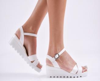 Дамски  сандали на платформа  еко кожа бели XUXI-27790
