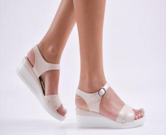 Дамски сандали на платформа еко кожа  бежови NUWT-27791