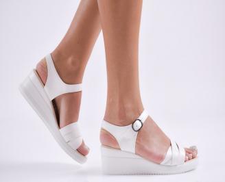 Дамски  сандали на платформа  еко кожа бели NZAB-27792