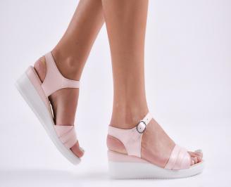 Дамски  сандали на платформа  еко кожа пудра GOKR-27794