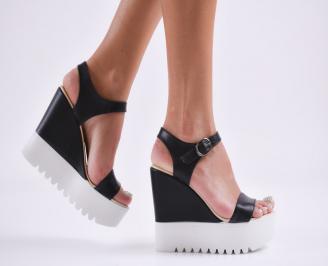 Дамски  сандали на платформа  еко кожа черни JUTU-27795