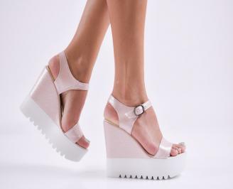 Дамски  сандали на платформа  еко кожа розови DWBV-27800