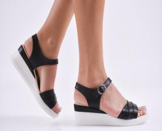 Дамски  сандали на платформа  еко кожа черни IQYK-27802