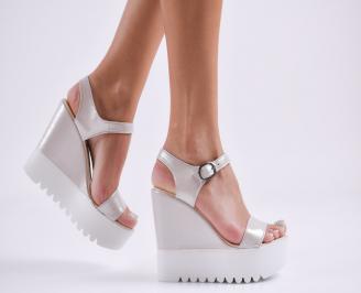 Дамски  сандали на платформа  еко кожа сребристи HNIS-27803