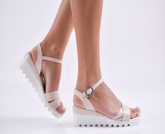 Дамски  сандали на платформа  еко кожа пудра RIZV-27806