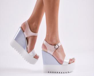 Дамски сандали на платформа еко кожа шарени TRRJ-27808