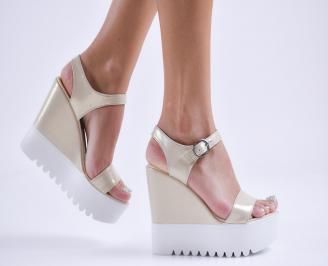 Дамски сандали на платформа еко кожа  бежови QHYP-27809