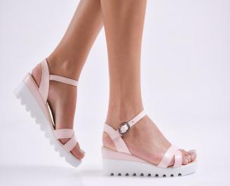 Дамски  сандали на платформа  еко кожа розови PGLT-27812