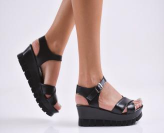 Дамски  сандали на платформа  еко кожа черни JRWZ-27815