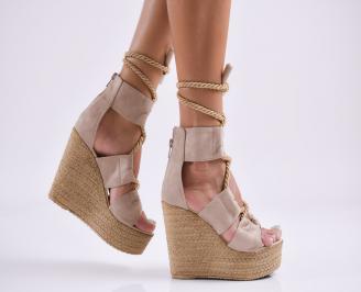 Дамски  сандали на платформа  набук бежови SMHG-27818