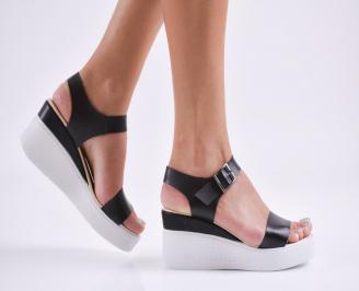 Дамски  сандали на платформа  еко кожа черни LYDZ-27819