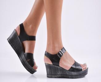 Дамски  сандали на платформа  еко кожа черни IVWG-27822