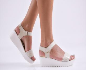 Дамски сандали на платформа естествена кожа  бежови CMIR-27844