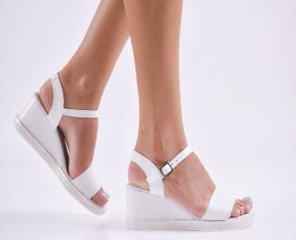 Дамски  сандали на платформа  естествена кожа бели WMSQ-27847