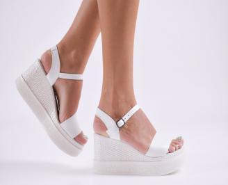 Дамски  сандали на платформа  естествена кожа бели WRQM-27848