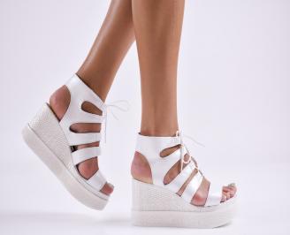 Дамски  сандали на платформа  естествена кожа бели MIVI-27856